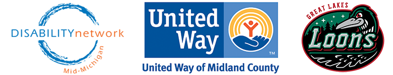 DNMM logo_ united way of midland county logo_ and great lakes loons logo