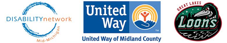DNMM logo_ united way of midland county logo_ and great lakes loons logo
