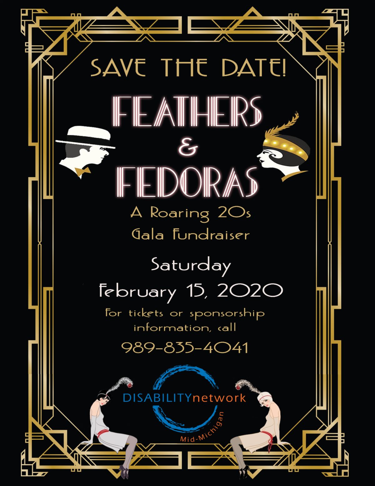scan of feathers and fedoras invite_ art deco style_ black and gold with 1920s flapper girls