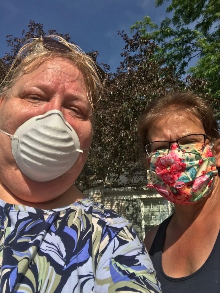veronica and tara wearing masks