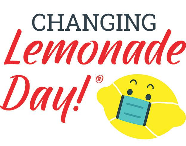 The words Changing Lemonade Day with an image of Lemmy the lemon wearing a face mask