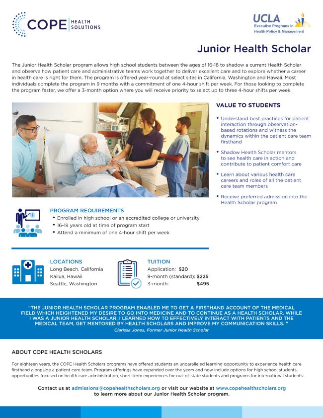 Junior Health Scholar Flyer image