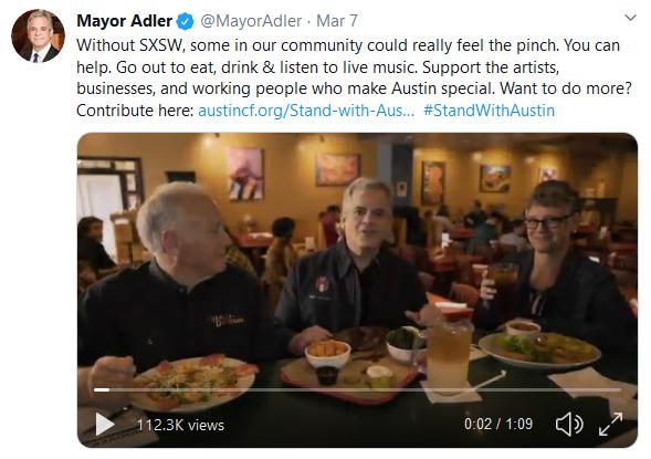 #StandWithAustin tweet from Austin Mayor Adler