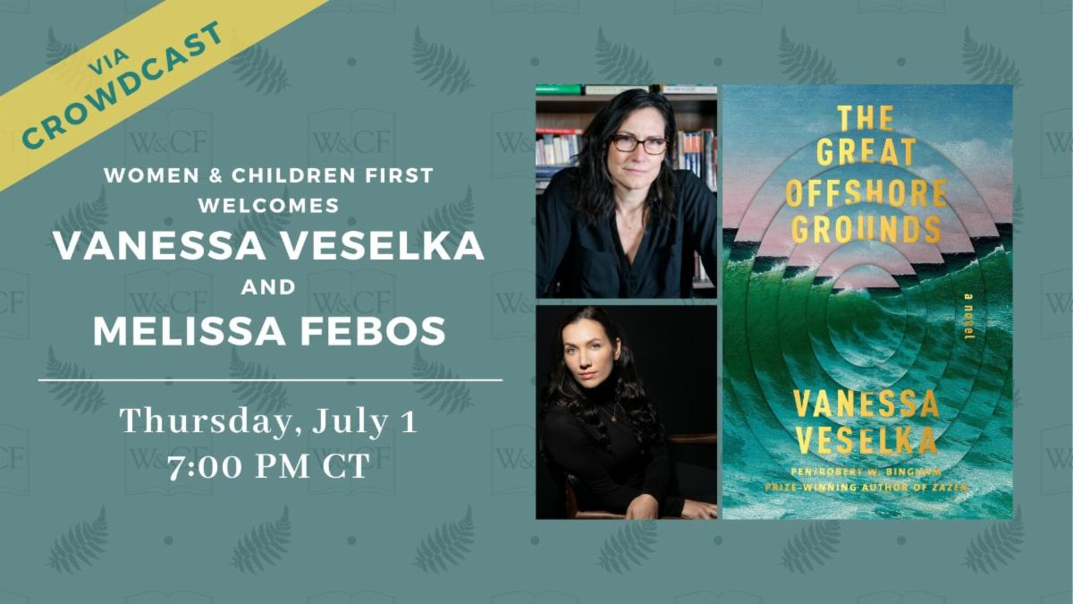 Green Banner with a Link to Virtual Event with Vanessa Veselka and Melissa Febos