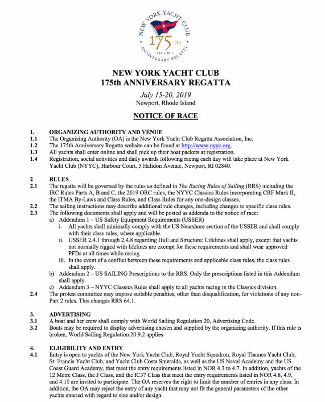 NYYC 175th Anniversary Regatta Notice of Race