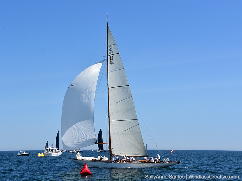 Seen here crossing the finish line at the recent 12 Metre World Championship in Newport R.I._ Onawa _US-6_  finished second overall in the Vintage Division at that regatta. _ Photo Courtesy_ SallyAnne Santos