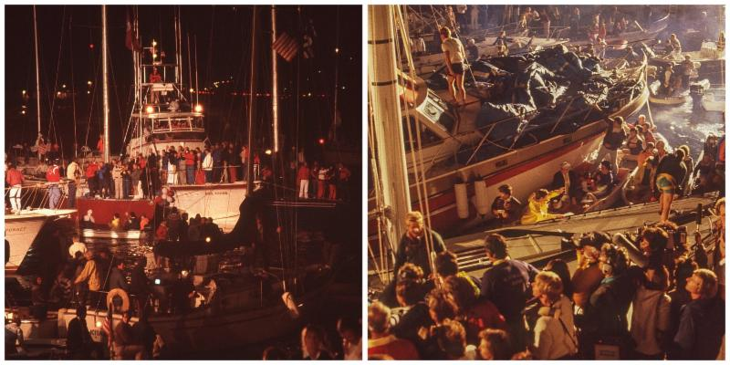 Scenes from the docks at the end of the 1983 America_s Cup _Photos by Gilles Martin-Raget_