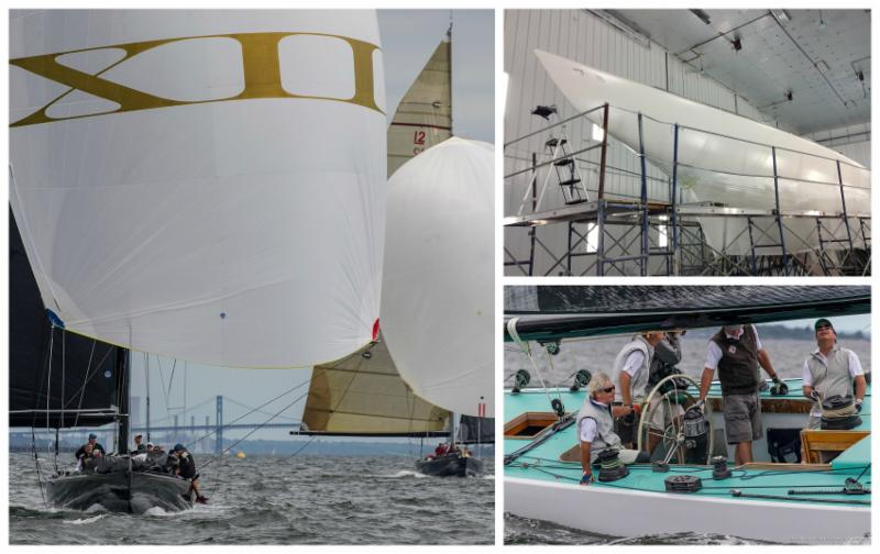Clockwise from left_Challenge XII _KA-10_ under sail_ Freedom _US-30_ at Pilots Point Marina in 2017_ Intrepid _US-22_ under sail. _Photos by Windlass Creative _ SallyAnne Santos and courtesy of Freedom_