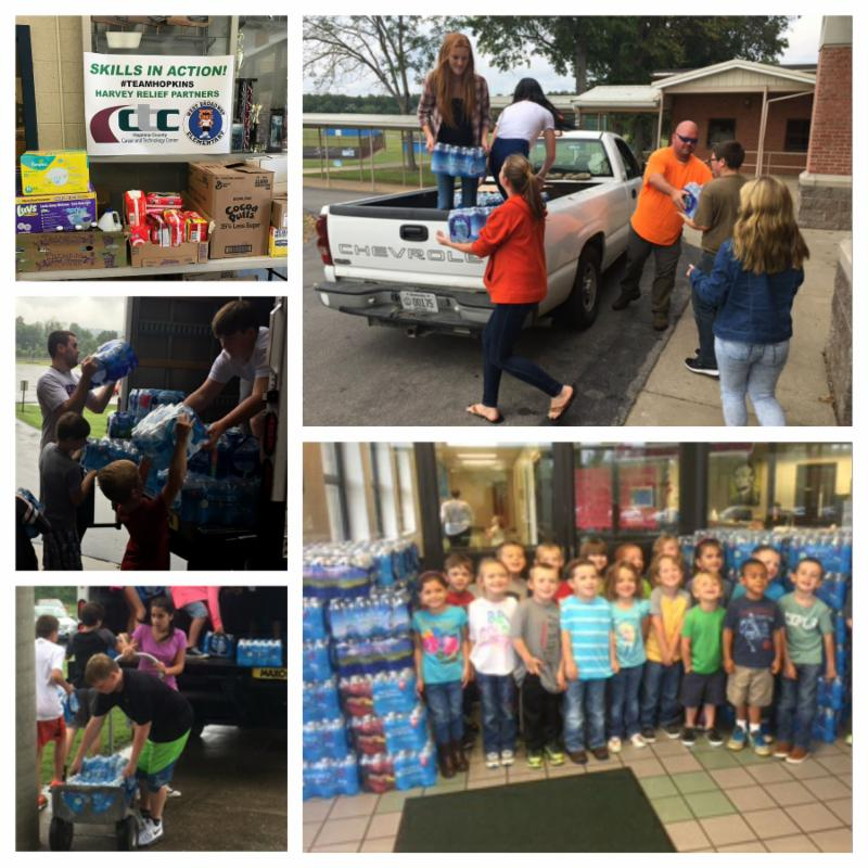 Collage showing West Broadway and CTC collection sign_ two photos of South Hopkins kids loading a truck_ Southside students standing with pallets of bottled water_ Southside kids loading a truck with water.