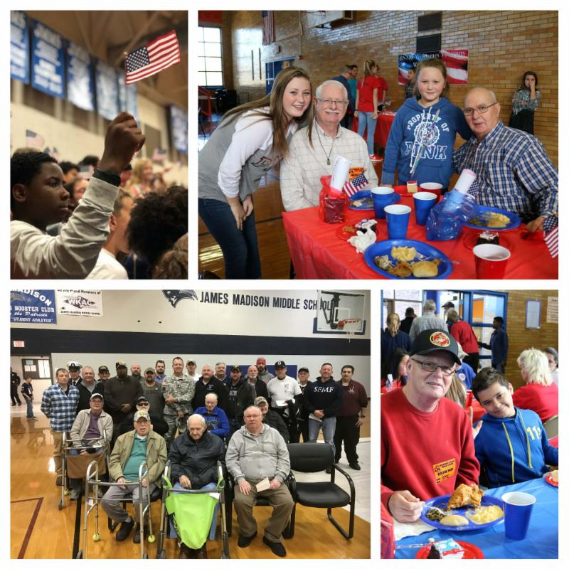 Four photos from Veterans Day celebrations at James Madison and Browning Springs middle schools