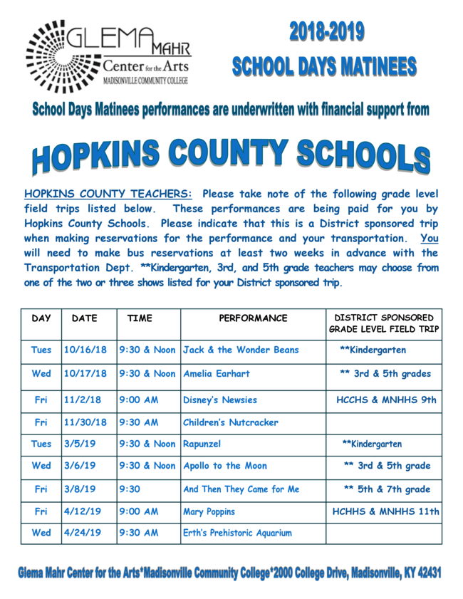 Front page of School Days Matinee program
