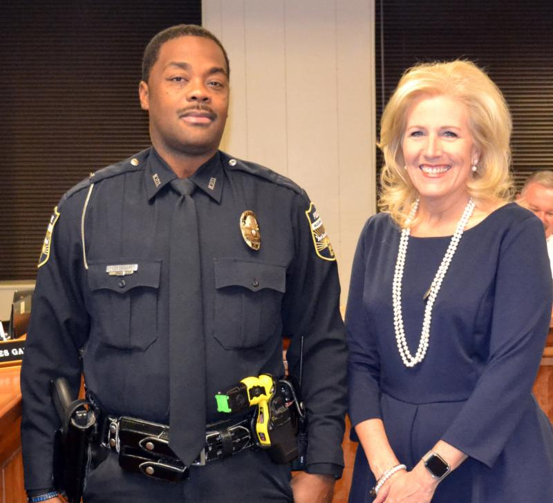 Officer Tyrone Gregory and Superintendent Deanna Ashby
