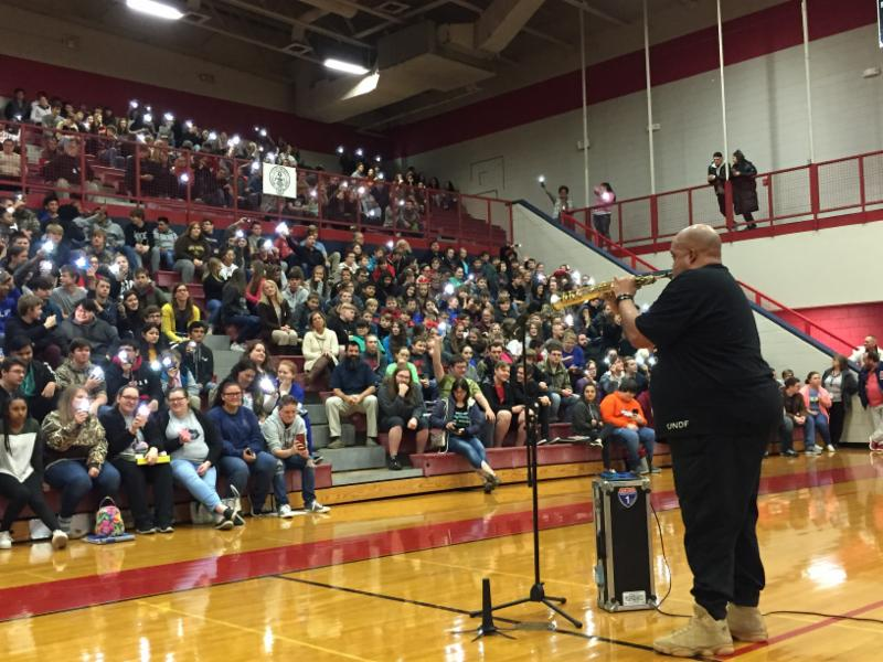 Reggie Dabbs gives presentation in Central gym