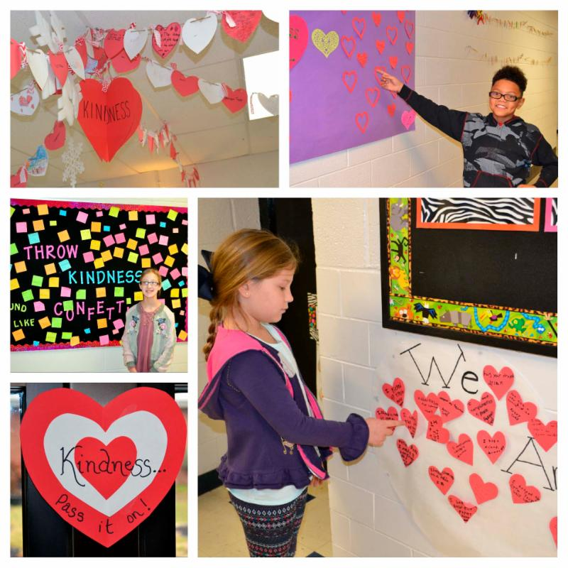 Collage of five photos on kindness decorations