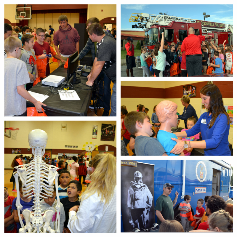 Career Day booths at Jesse Stuart Elementary included firefighters_ health care_ miners and engineering.