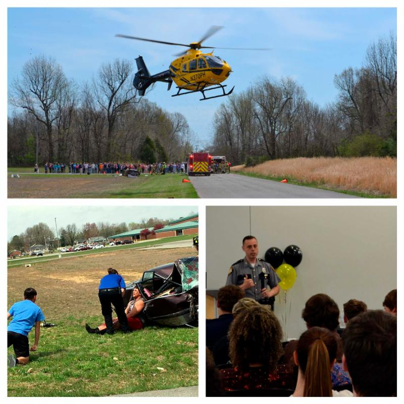 Helicopter landing for mock accident drill