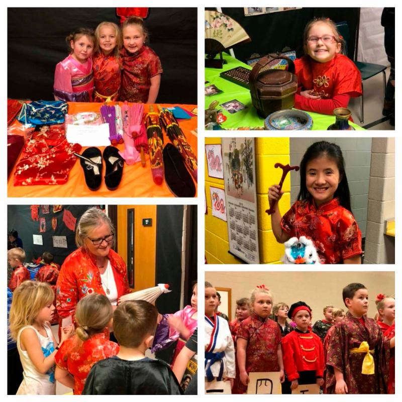 Five photo collage of Chinese New Year celebration