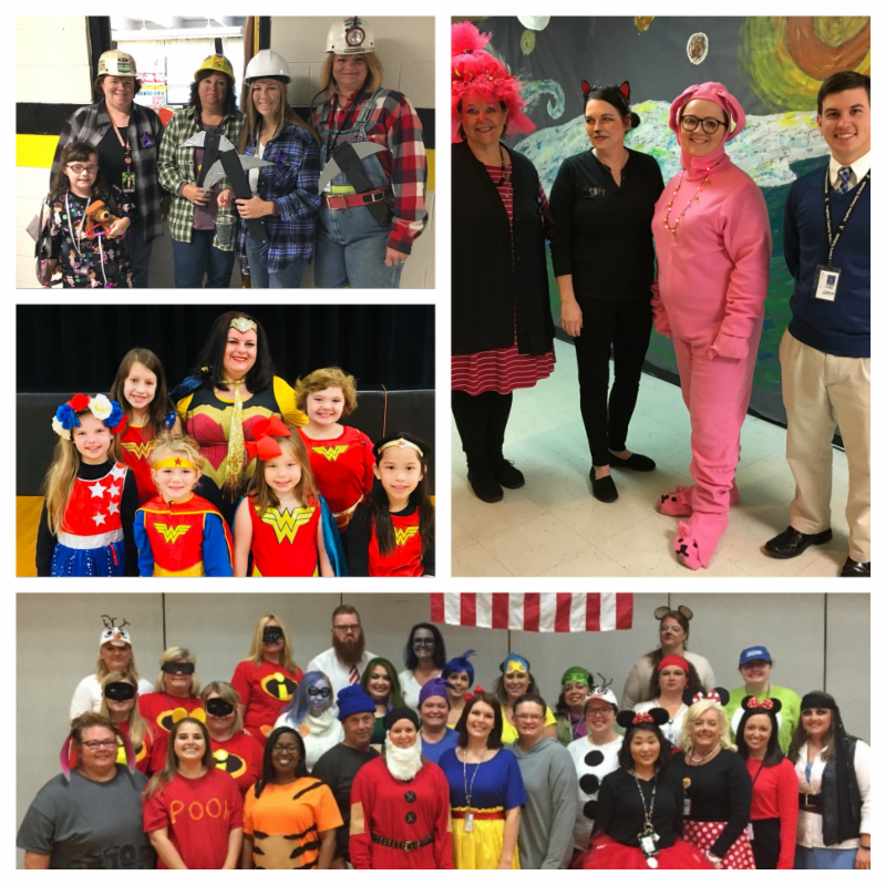 Five photos of employees in Halloween costumes