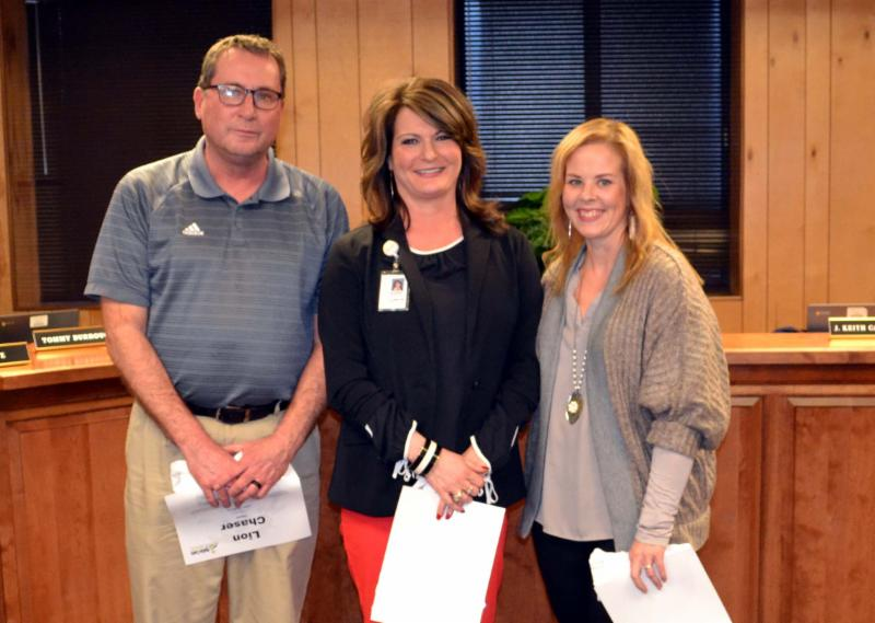 John Tichenor_ Shannon Bowles and Jeannie Morris honored by school board