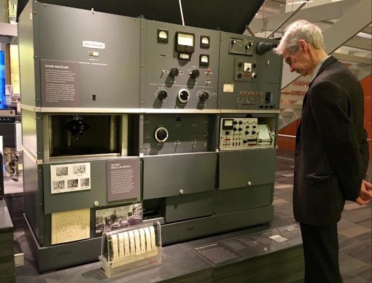 Hugh viewing an Arnold Beckman centrifuge