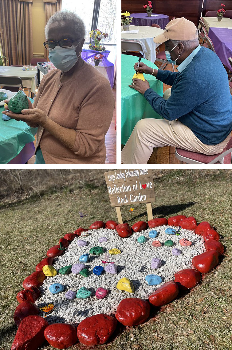 three photos of rock painters and heart shaped rock garden