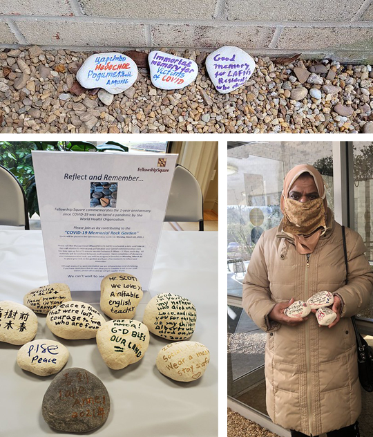 Rock from the rock garden and a woman holding rocks