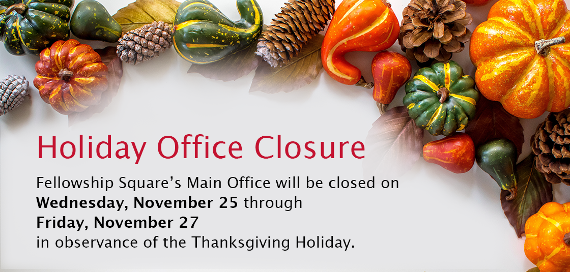 decorative squash bordering message Office Closed Nov 25 through 27 for Thanksgiving holiday