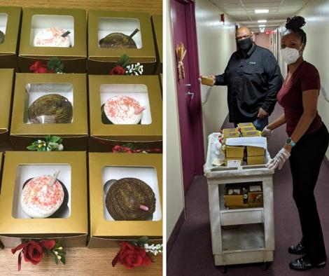 close up of boxes of cupcakes and a photo of 2 masked people delivering cupcakes on a cart