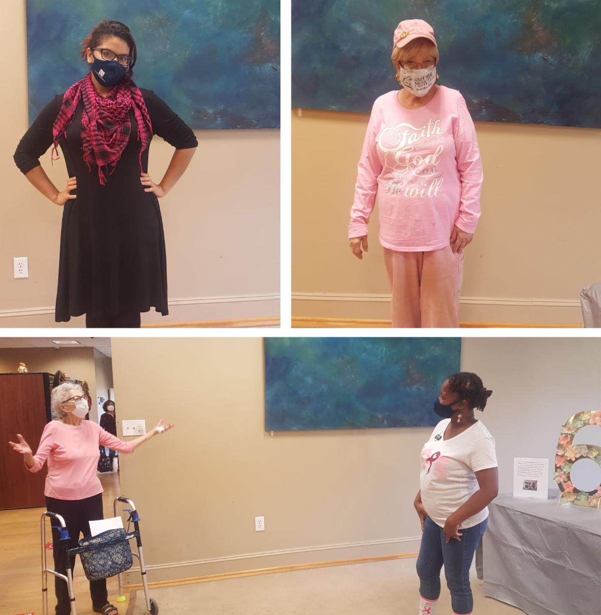 photo collage of residents wearing pink