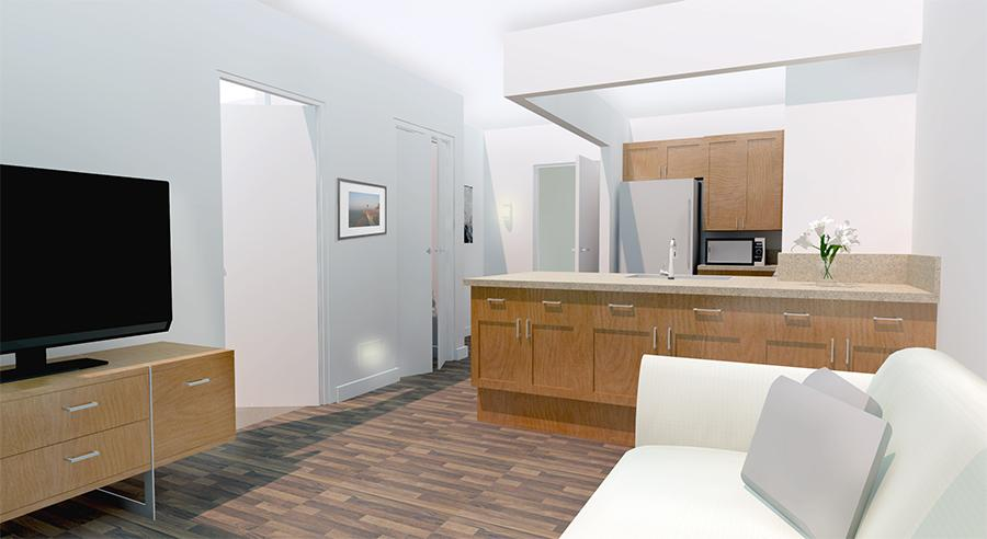 rendering of apartment living room and kitchen