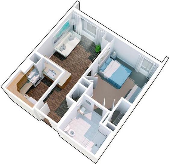 3-D rendering of full apartment floorpan