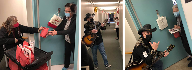 Three photos of residents getting goodie bags at their apartment doors and man with a guitar