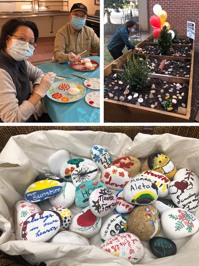 collage of residents painting the rock garden and a basket of rocks