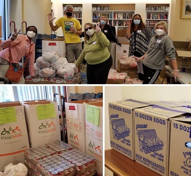 collage of photos showing volunteers and boxes of food