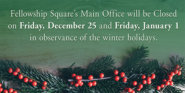 pine branches and red berries below type that says office will be closed December 25 and January 1