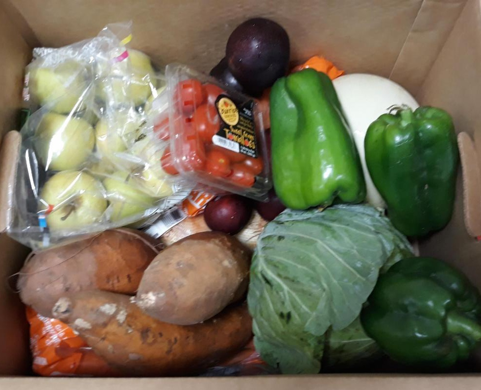 close up of box of vegetables