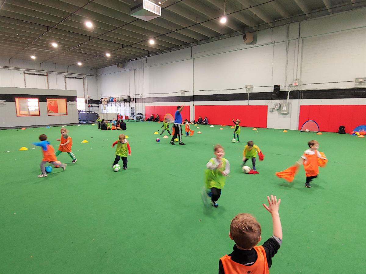 Indoor soccer class for preschoolers