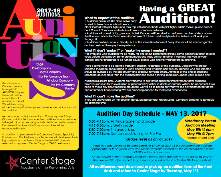 Audition Info 2017