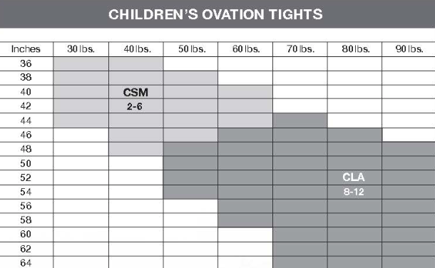 Ovation Tights Sizing Charts