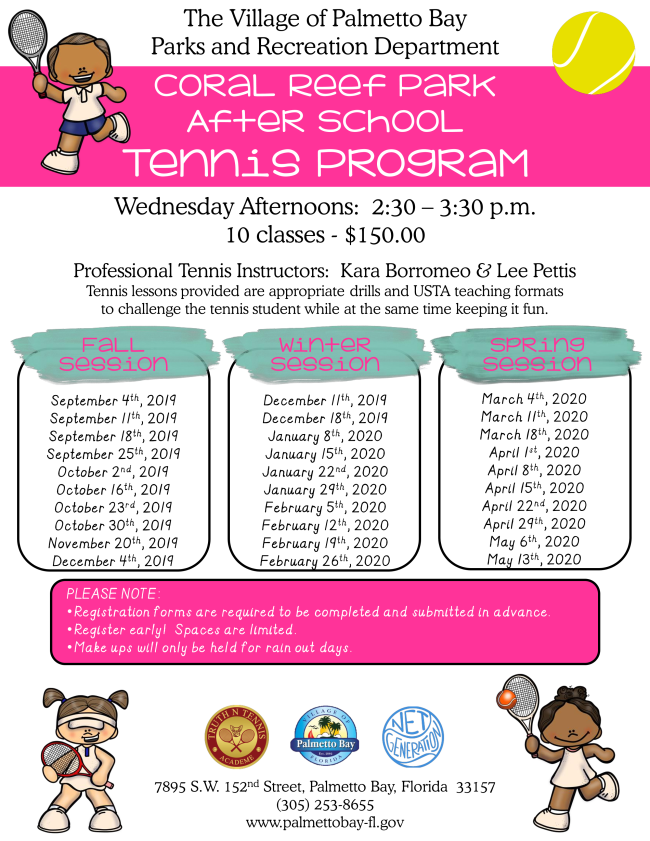 Coral Reef After School Program Schedule
