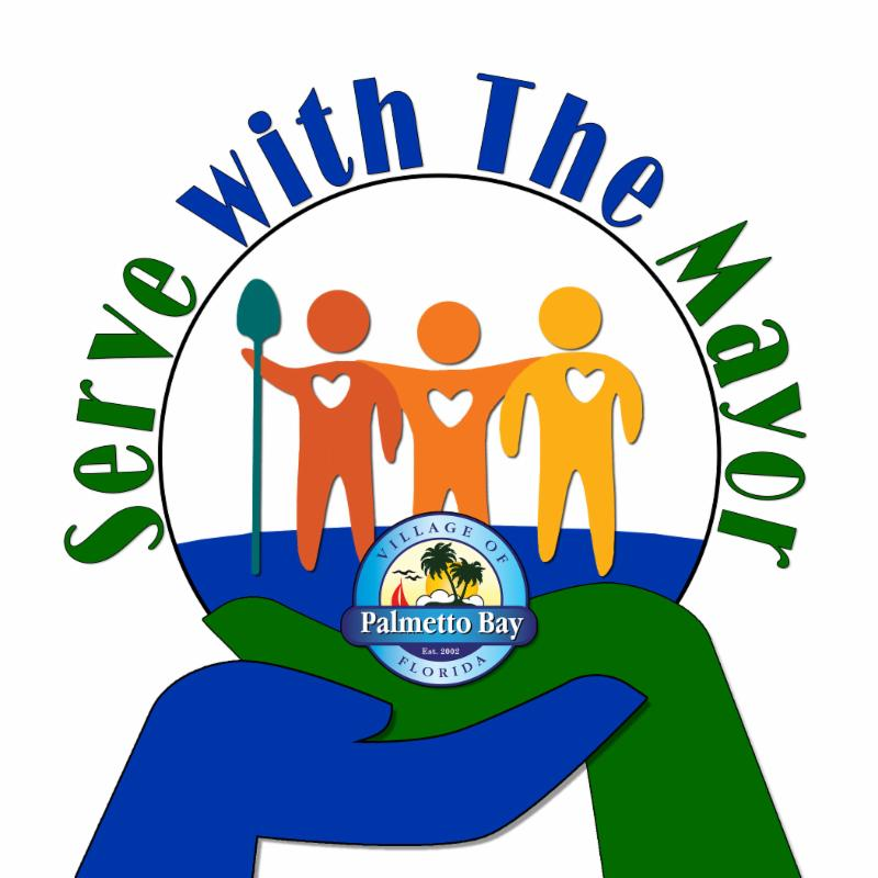 """this is a logo for our """"Serve with the Mayor"""" Initiative.  Shows two hands with three animated people standing over the Palmetto Bay logo."""