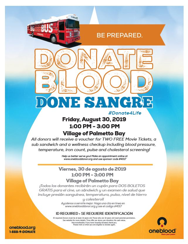 Blood drive to take place August 30th at Village Hall