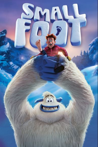 """Movie poster for the movie, """"Small Foot"""".  Two characters from the film are pictured smiling victoriously."""