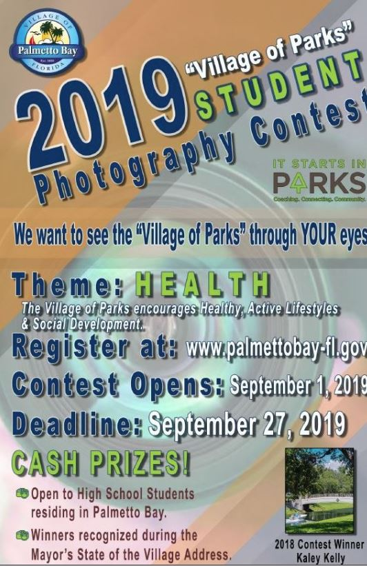 Student Photography contest for high school students residing in Palmetto bay .  Opens September 1-27th.  Information at palmettobay-fl.gov