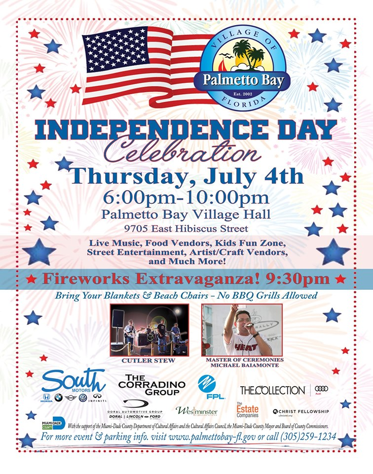 Flyer for Palmetto Bay Fourth of July Celebration, Village Hall, 6:30 pm