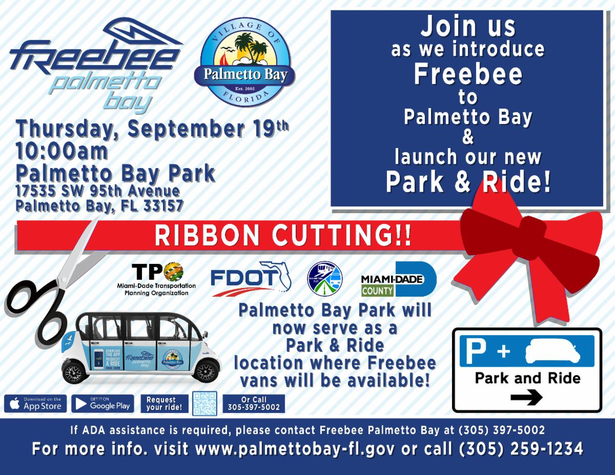 Freebee ribbon cutting September 19th at 10:00 at Palmetto Bay Park