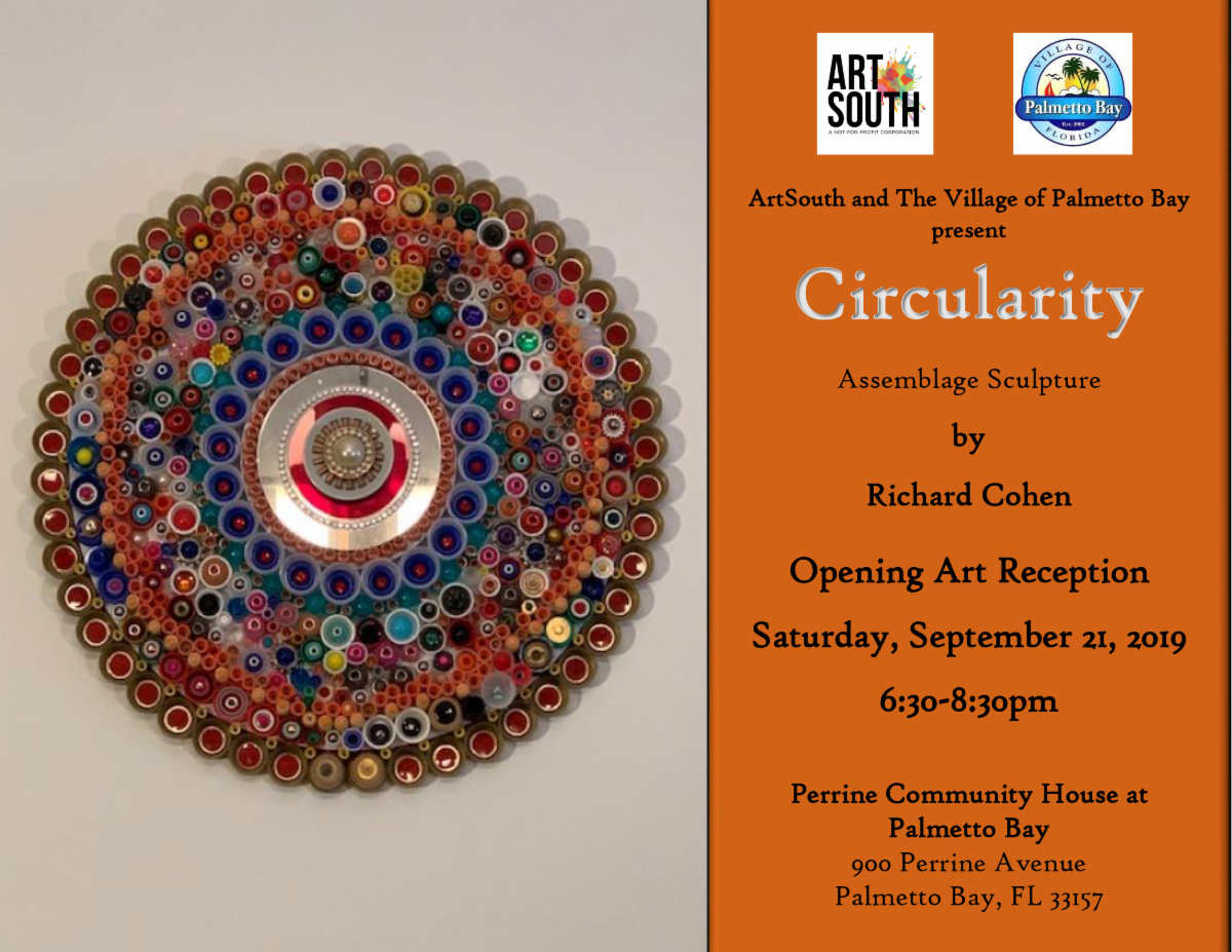 ArtSouth presents the work of Richard Cohen at Perrine community house at Palmetto Bay, Saturday September 21st at 6:30 pm.