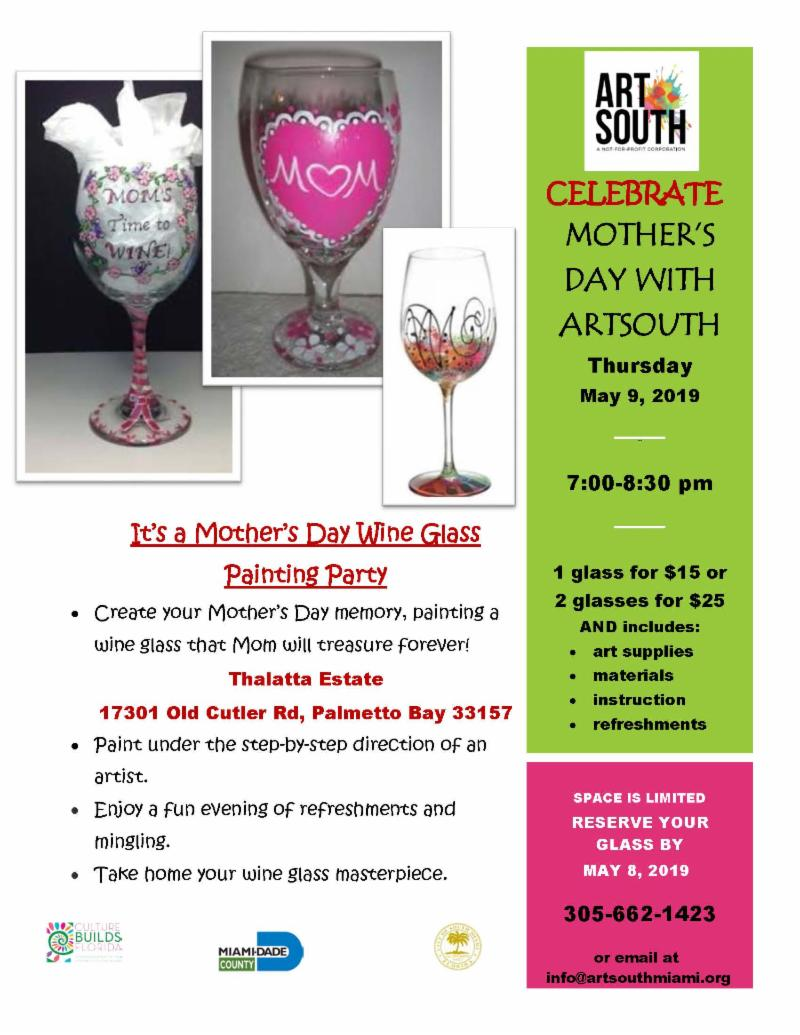 Flyer of Wine Glass Painting Party, Thursday May 9th from 7 to 8:30 pm at Thalatta Estate.