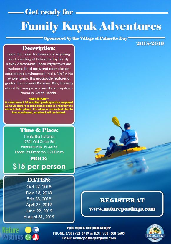 Flyer for Kayak Adventures.  This event will take place on April 27, 2019 at Thalatta Estate.
