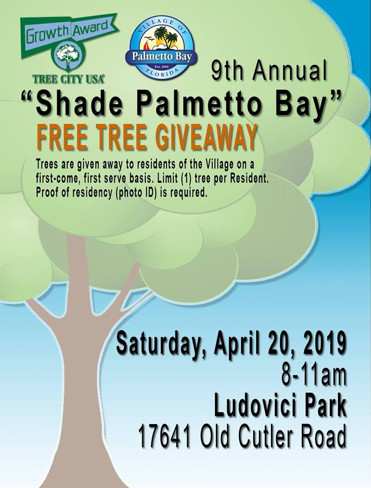 flyer of the shade tree giveaway at Ludovici Park today, 17641 Old Cutler Rd
